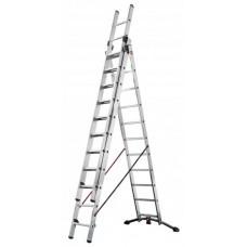 Kombinovaný hliníkový žebřík  3x12 příček , 9 m pracovní výška